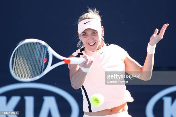 Elena Vesnina of Russia plays a forehand in her second round match against Naomi Osaki of Japan on day four of the 2018 Australian Open at Melbourne...