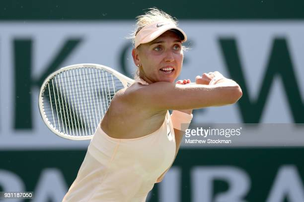 Elena Vesnina of Russia plays Angelique Kerber of Germany during the BNP Paribas Open at the Indian Wells Tennis Garden on March 12 2018 in Indian...