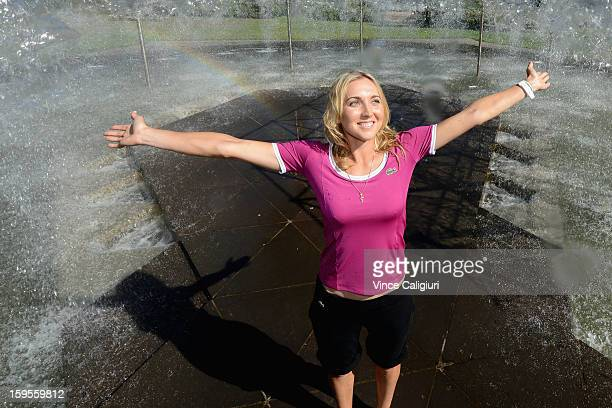 Elena Vesnina of Russia poses at Spring Street Fountain on day three of the 2013 Australian Open on January 16 2013 in Melbourne Australia