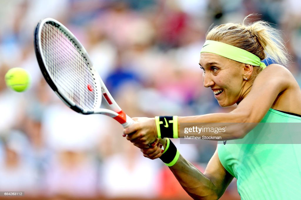 Elena Vesnina of Russia returns a shot to Venus Williams during the BNP Paribas Open at the Indian Wells Tennis Garden on March 16, 2017 in Indian Wells, California.