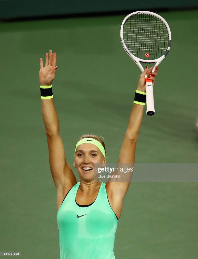 Elena Vesnina of Russia scelebrates match point against Venus Williams of the United States in their quarter final match during day eleven of the BNP Paribas Open at Indian Wells Tennis Garden on March 16, 2017 in Indian Wells, California.