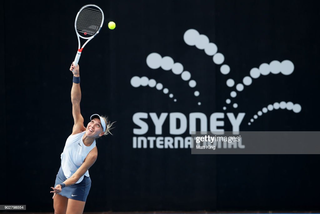 Elena Vesnina of Russia serves in her 2nd round match against Dominika Cibulkova of Slovakia during day three of the 2018 Sydney International at Sydney Olympic Park Tennis Centre on January 9, 2018 in Sydney, Australia.