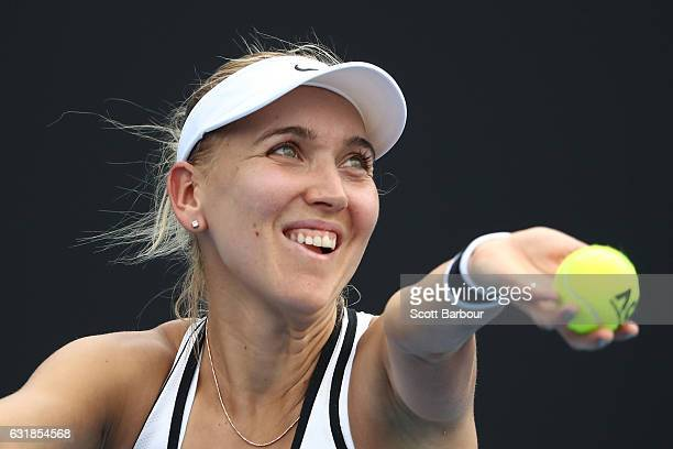 Elena Vesnina of Russia serves in her first round match against Ana Bogdan of Romania on day two of the 2017 Australian Open at Melbourne Park on...