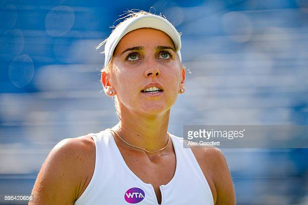 Elena Vesnina of Ukraine looks on during a match against Elina Svitolina of Ukraine on day 5 of the Connecticut Open at the Connecticut Tennis Center...