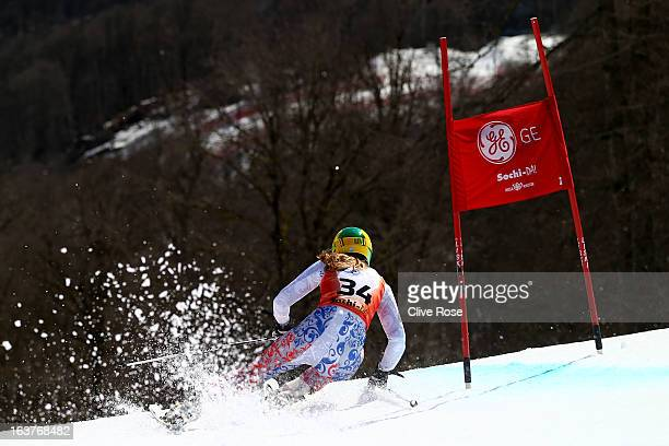 Elena Yakovishina of Russia competes in the Women's Giant Slalom during the FIS Alpine Skiing European Cup Finals at Rosa Khutor Alpine Center on...