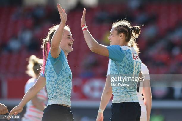 Elena Zdrokova of Russia celebrates scoring a try with Alena Mikhaltsova during the HSBC World Rugby Women's Sevens Series 2016/17 Kitakyushu 5th...