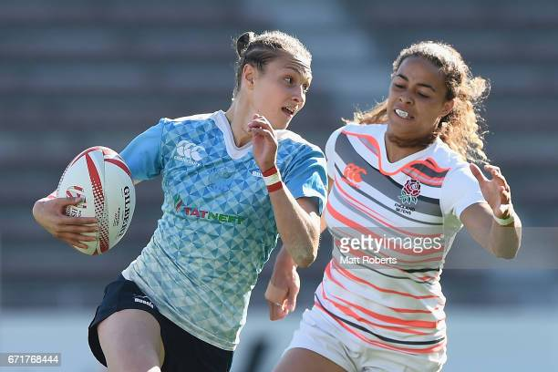 Elena Zdrokova of Russia makes a break during the HSBC World Rugby Women's Sevens Series 2016/17 Kitakyushu 5th place playoff between Russia and...