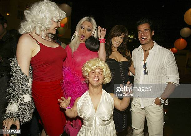Elender Wall Alexis Arquette Cafe Entertainmen Chairwoman and CEO Celia Fox and Antonio Sabato Jr with guest