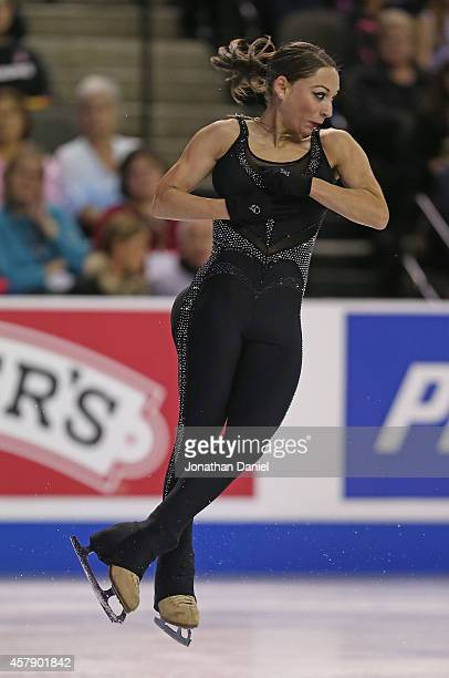 Elene Gedevanishvli competes in the Ladies Free Skating during the 2014 Hilton HHonors Skate America competition at the Sears Centre Arena on October...