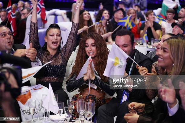 Eleni Foureira of Cyprus reacts in the green room during the Eurovision 2018 Grand Final at Altice Arena on May 12 2018 in Lisbon Portugal