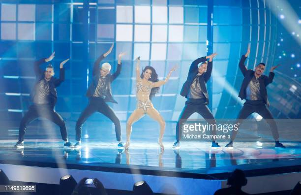 Eleni Foureira performs live on stage during the 64th annual Eurovision Song Contest held at Tel Aviv Fairgrounds on May 17 2019 in Tel Aviv Israel