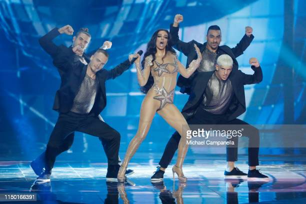 Eleni Foureira performs live on stage during the 64th annual Eurovision Song Contest held at Tel Aviv Fairgrounds on May 18 2019 in Tel Aviv Israel