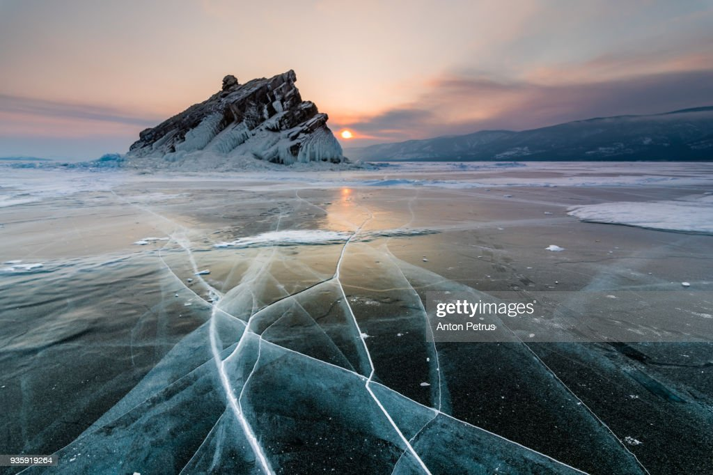 Elenka Island on Lake Baikal in winter : Stock-Foto
