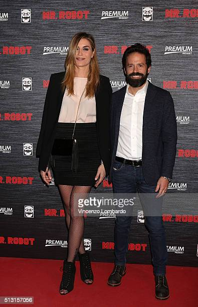 Elenoire Casalegno and Sebastiano Lombardi attend the 'Mr Robot' Tv Show Photocall on February 29 2016 in Milan Italy