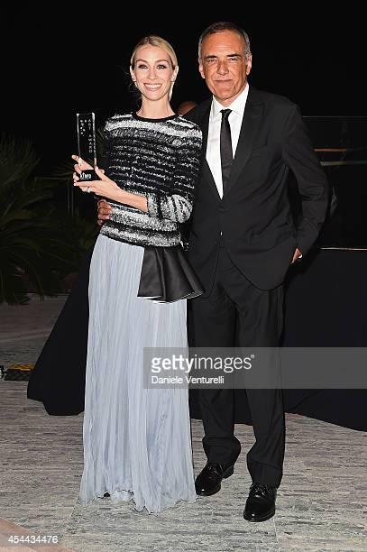 Eleonora Abbagnato and director of the Venice Film Festival Alberto Barbera attend the Kineo Award during the 71st Venice Film Festival on August 31...