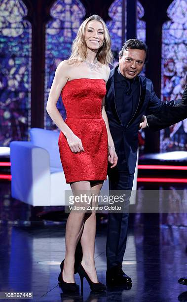 Eleonora Abbagnato and Piero Chiambretti attend Chiambretti Night Italian TV Show held at Mediaset Studios on January 23 2011 in Milan Italy