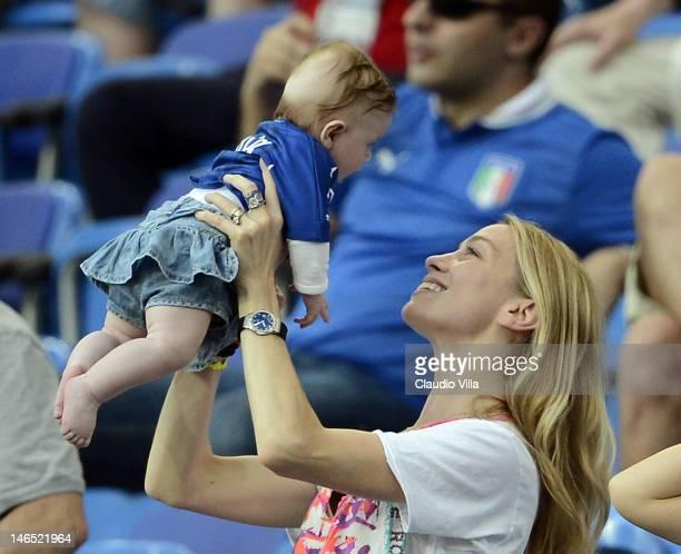 Eleonora Abbagnato wife of Federico Balzaretti and Julia Balzaretti during the UEFA EURO 2012 group C match between Italy and Ireland at The...