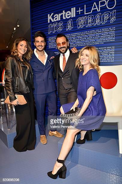 Eleonora Brunacci Mariano Di Vaio Alessandro Martorana and Elena Barolo attend KartellLapo It's A Wrap Party on April 12 2016 in Milan Italy