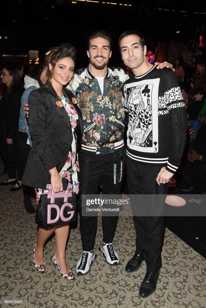 Eleonora Brunacci , Mariano Di Vaio and Mohammed Al Turki attend the Dolce & Gabbana show during Milan Fashion Week Fall/Winter 2018/19 on February 25, 2018 in Milan, Italy.