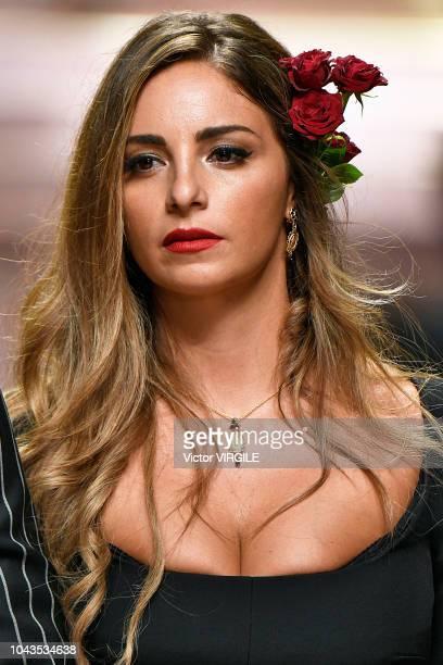 Eleonora Brunacci walks the runway at the Dolce & Gabbana Ready to Wear fashion show during Milan Fashion Week Spring/Summer 2019 on September 23,...