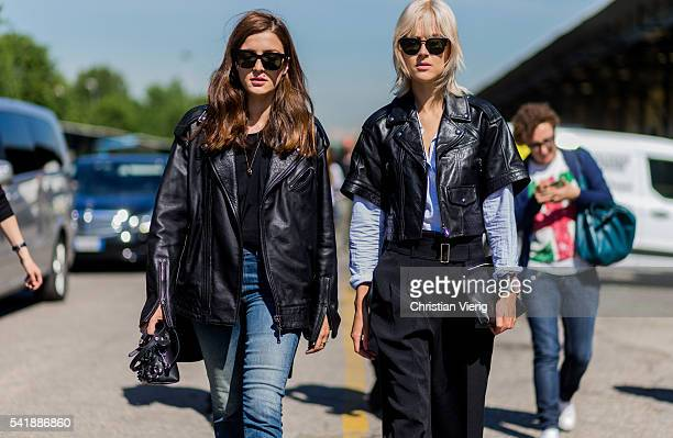 Eleonora Carisi and Linda Tol wearing leather jackets outside Diesel during the Milan Men's Fashion Week Spring/Summer 2017 on June 20, 2016 in...