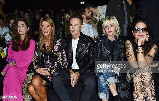 Eleonora Carisi Anna Dello Russo Neil Barrett Paola Barale and Benedetta Mazzini attend the DSquared2 show during the Milan Fashion Week...