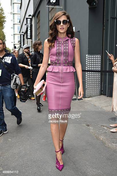 Eleonora Carisi arrives at DSquared2 Fashion Show during Milan Fashion Week Womenswear Spring/Summer 2015 on September 18 2014 in Milan Italy