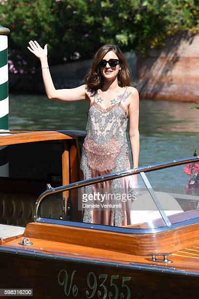 Eleonora Carisi arrives at Lido during the 73rd Venice Film Festival on September 1 2016 in Venice Italy