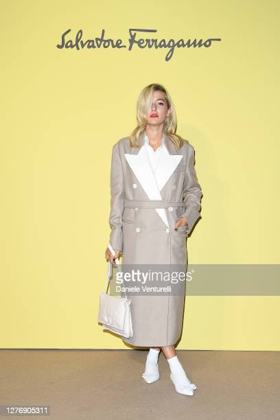 Eleonora Carisi attend the Salvatore Ferragamo show during during Milan Fashion Week Spring/Summer 2021 on September 26, 2020 in Milan, Italy.