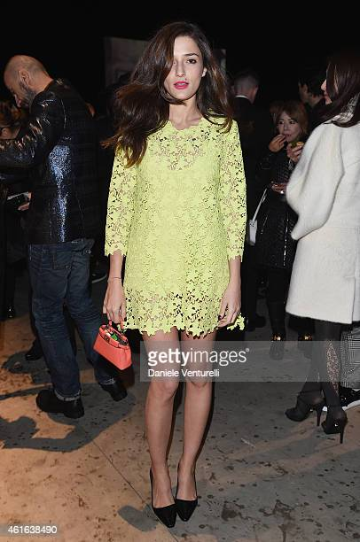 Eleonora Carisi attends the Dsquared2 during the Milan Menswear Fashion Week Fall Winter 2015/2016 on January 16 2015 in Milan Italy
