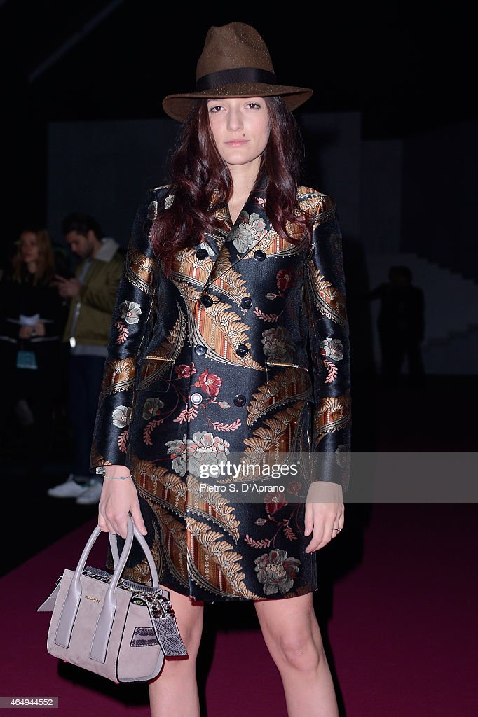 Eleonora Carisi attends the Dsquared2 show during the Milan Fashion Week Autumn/Winter 2015 on March 2, 2015 in Milan, Italy.
