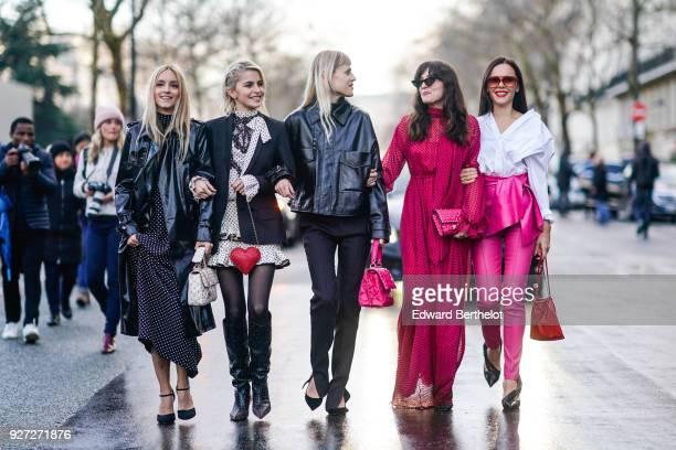 Eleonora Carisi Caroline Daur Charlotte Groeneveld Evangelie Smyrniotaki Linda Tol outside Valentino during Paris Fashion Week Womenswear Fall/Winter...