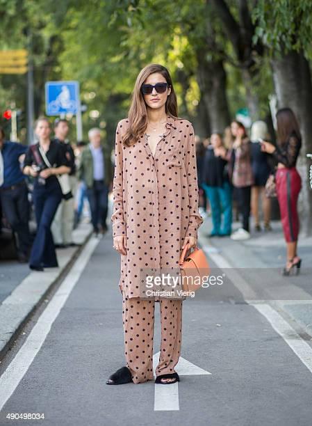 Eleonora Carisi during Milan Fashion Week Spring/Summer 16 on September 26 2015 in Milan Italy