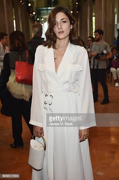Eleonora Carisi in Alberta Ferretti attends the Alberta Ferretti show during Milan Fashion Week Spring/Summer 2017 on September 21 2016 in Milan Italy