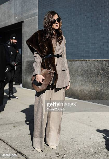 Eleonora Carisi is seen outside the Calvin Klein show on February 19 2015 in New York City