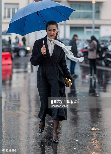 Eleonora Carisi is seen wearing a white blouse and a black coat outside Anthony Vaccarello during the Paris Fashion Week Womenswear Fall/Winter...