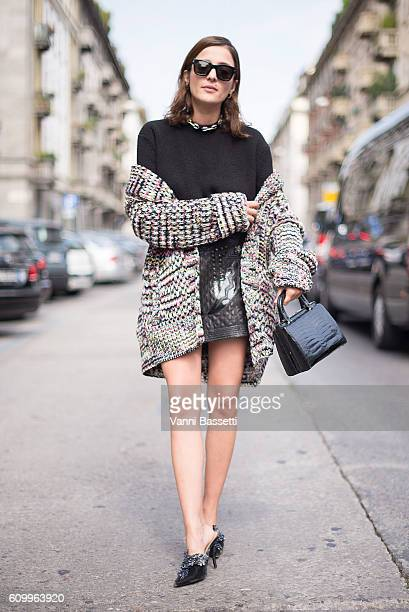 Eleonora Carisi poses wearing a Missoni cardigan and Diesel Black Gold dress after the Sportmax show during Milan Fashion Week Spring/Summer 2017 on...