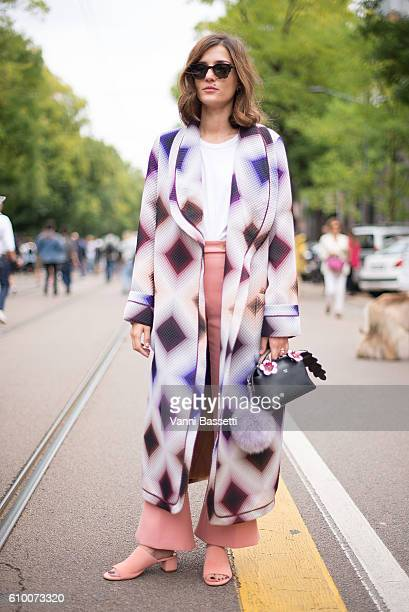 Eleonora Carisi poses wearing Fendi after the Fendi show during Milan Fashion Week Spring/Summer 2017 on September 22 2016 in Milan Italy