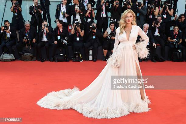 Eleonora Carisi walks the red carpet ahead of the Marriage Story screening during the 76th Venice Film Festival at Sala Grande on August 29 2019 in...