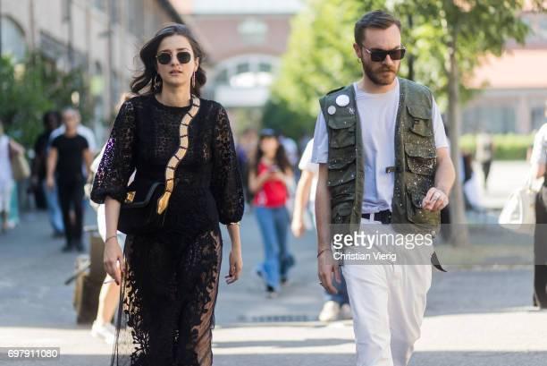 Eleonora Carisi wearing a black sheer dress is seen outside Malibu 1992 during Milan Men's Fashion Week Spring/Summer 2018 on June 19 2017 in Milan...