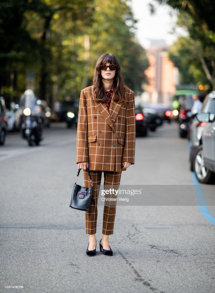 Street Style: September 21 - Milan Fashion Week Spring/Summer 2019 : News Photo
