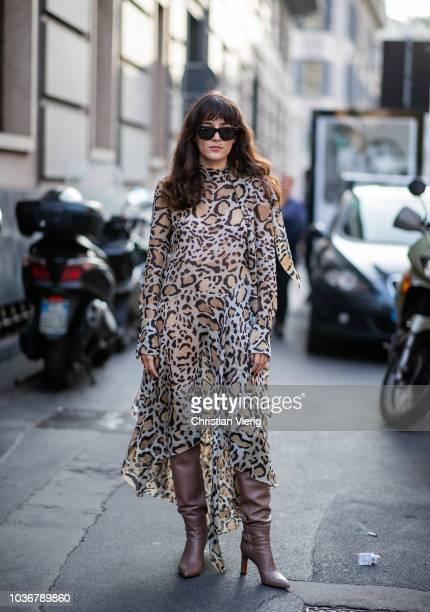 Eleonora Carisi wearing dress with leopard print is seen outside Max Mara during Milan Fashion Week Spring/Summer 2019 on September 20 2018 in Milan...