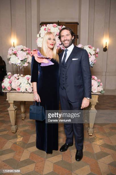 Eleonora Daniele and Giulio Tassoni attends the wedding of Earl Vittorio Palazzi Trivelli And Isabelle Adriani on February 22 2020 in Rome Italy