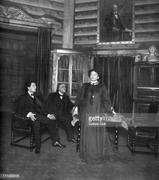 Eleonora Duse as Rebecca in Rosmersholm Act III by Henrik Ibsen with Glavani and Mazzanti Production by National Theatre of Christiania 1906 Italian...