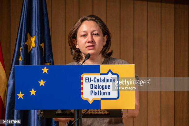 Eleonora Forenza seen during the presentation of the 'Plataforma Diàleg UECatalunya' Presentation at the Ateneo de Barcelona the 'Plataforma Dialag...