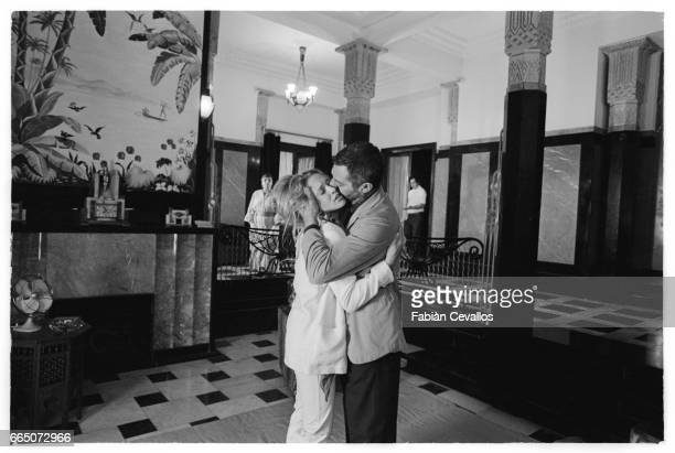 Eleonora Giorgi and Marcello Mastroianni embrace in a scene from the 1982 Italian film, Oltre la Porta. Directed by Liliana Cavani, the film is also...