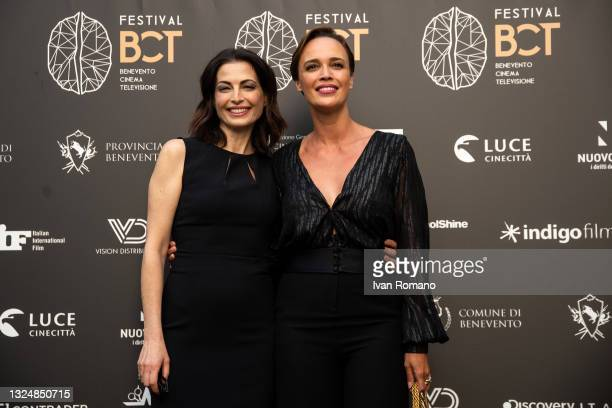 Eleonora Ivone and Roberta Giarrusso pose at the photocall at the 5th edition of the Festival Benevento Cinema Televisione on June 21, 2021 in...