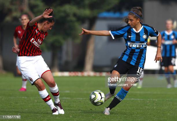 Eleonora Maria Goldoni of FC Internazionale competes for the ball with Laura Fusetti of AC Milan during the Women Serie A match between FC...