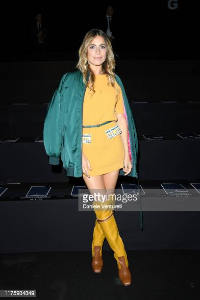 Eleonora Pedron attends the Elisabetta Franchi fashion show during the Milan Fashion Week Spring/Summer 2020 on September 20, 2019 in Milan, Italy.