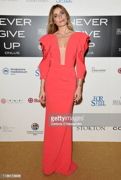 Eleonora Pedron is seen on red carpet of Never Give Up Onlus on March 15, 2019 in Milan, Italy.